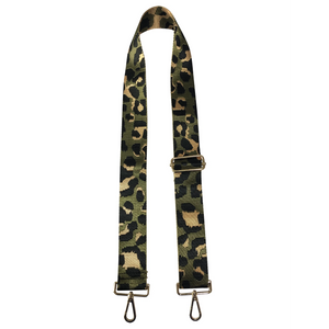 "2"" Green/Gold Leopard Bag Strap"