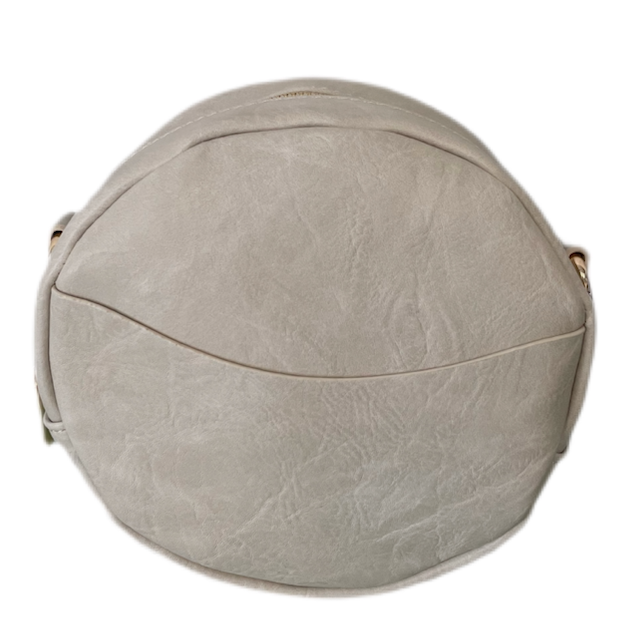 Round Vegan Leather Messenger- Cream
