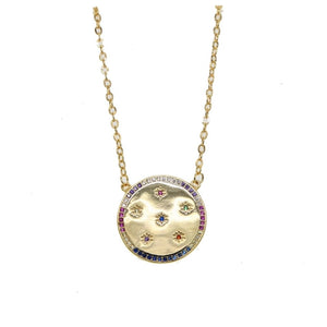 Rainbow Coin Necklace
