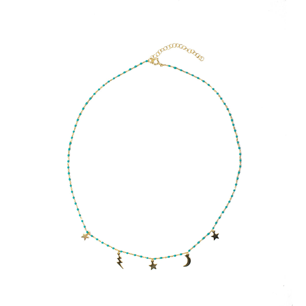 Multi Charm Necklace- Turquoise