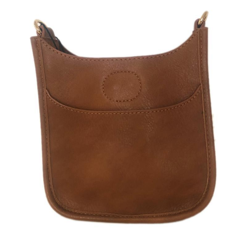 Petite Vegan Leather Messenger- Tan