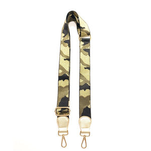 "1.5"" Camo Black/Army/Gold Bag Strap- Gold Ends"