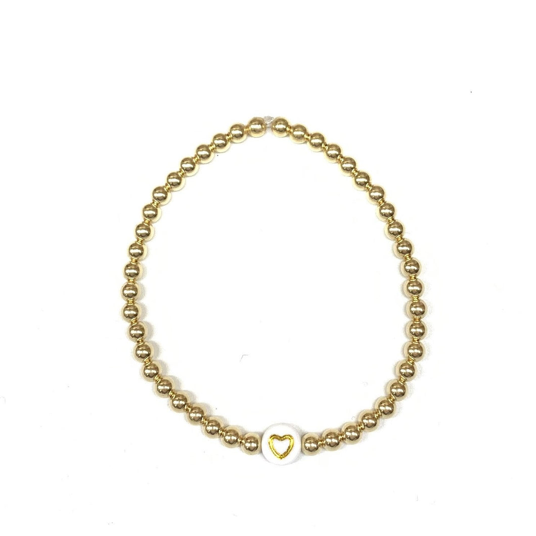 Gold Heart 4mm Layer Bracelet