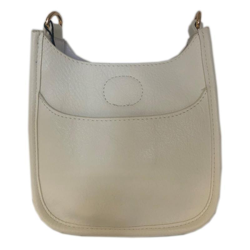 Petite Vegan Leather Messenger- White