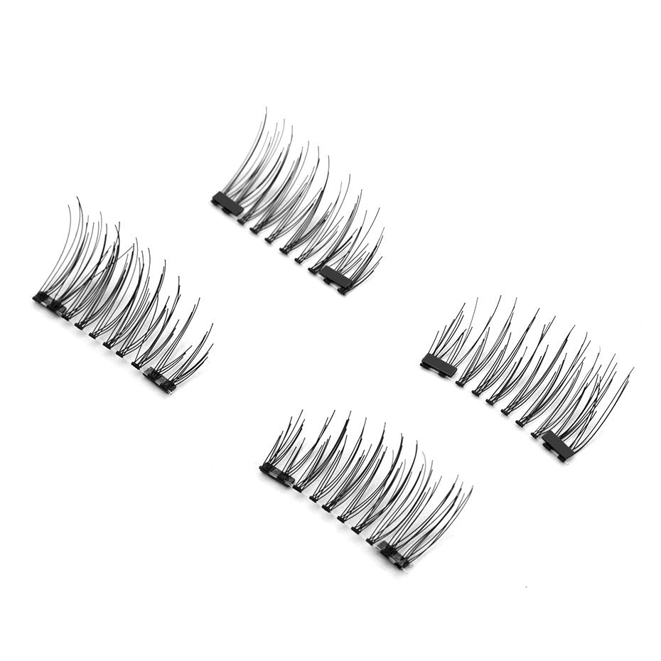 3D Magnetic Eyelashes + 2 Magnets Half Strip Winged Eye