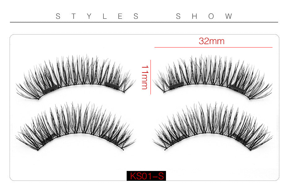 6D Magnetic Eyelashes + 2 Magnets Crisscross Thick