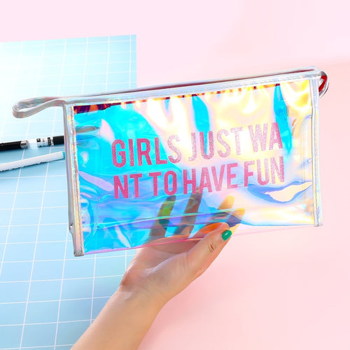 Girls Fun Hologram Laser Transparent Cosmetic Bag