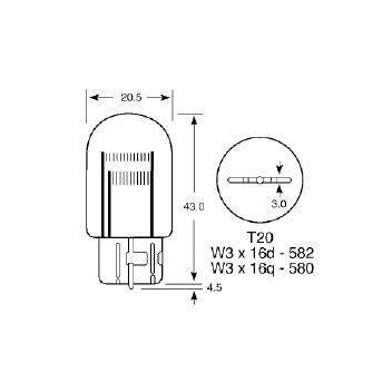 12v 21/5w Wedge/Capless Stop/Tail Bulb