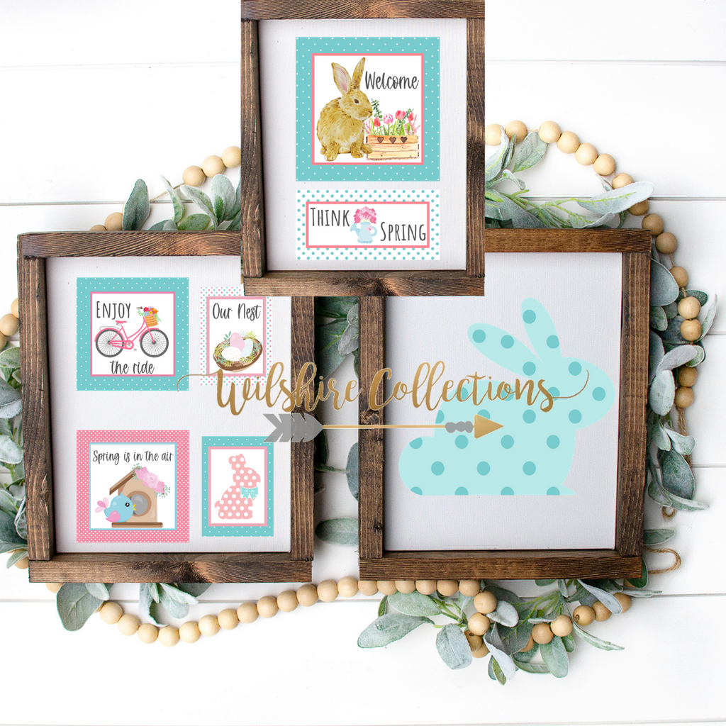 Aqua and pink printable bundle