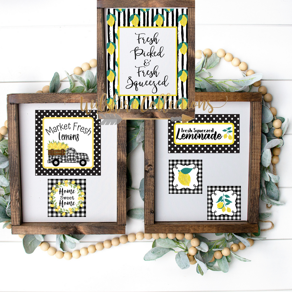 black and white lemon printable bundle