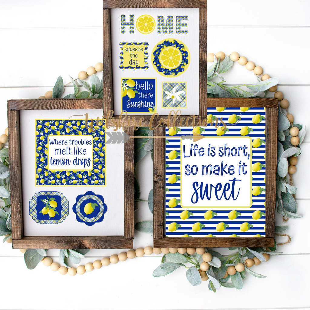 navy lemon printable bundle