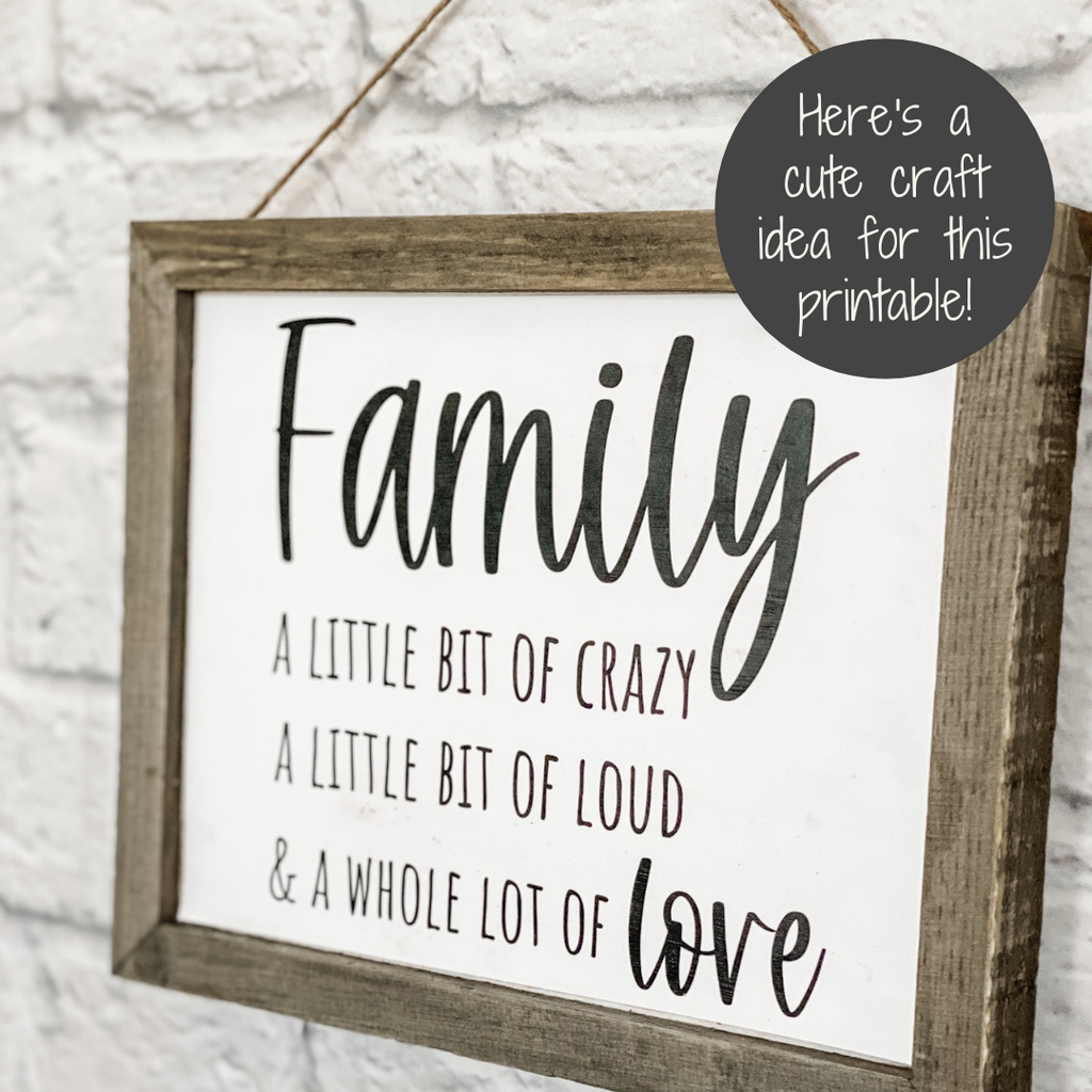 family everyday printable frame craft
