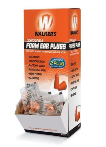 Walkers Foam Ear Plugs - 200 Pairs in Box