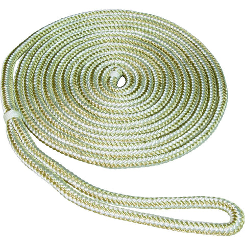 SeaSense 0.5 in x 20 ft Double Braid Dockline-Gold White