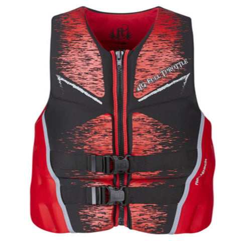 Full Throttle Mens Life Jacket Rapid-Dry Flex-Back-Red-L