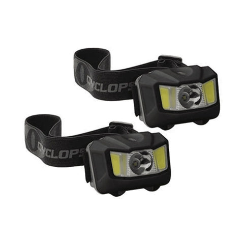 Cyclops 250 Lumen Headlamp w Green COB LED 2 Pack