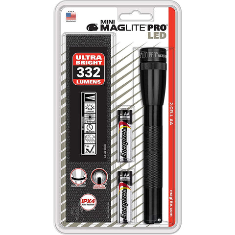 Mini Maglite LED PRO 2AA Black Flashlgiht w Holster