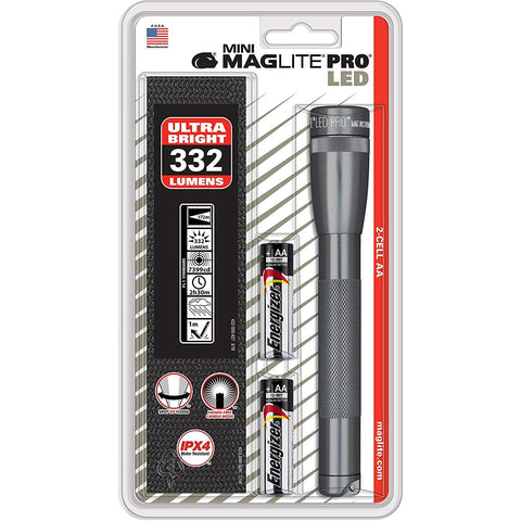 Mini Maglite LED PRO 2AA Gray Flashlgiht w Holster