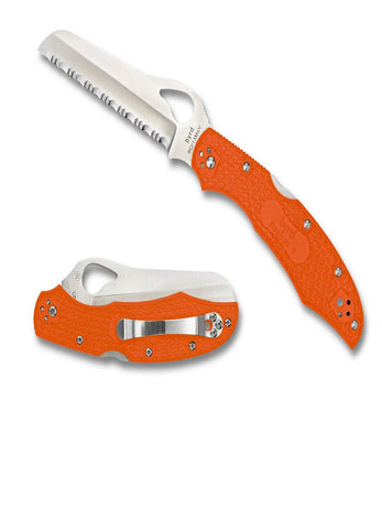 Byrd Cara Cara2 Folder 3.9 in Serrated Blade Orange FRN Hndl