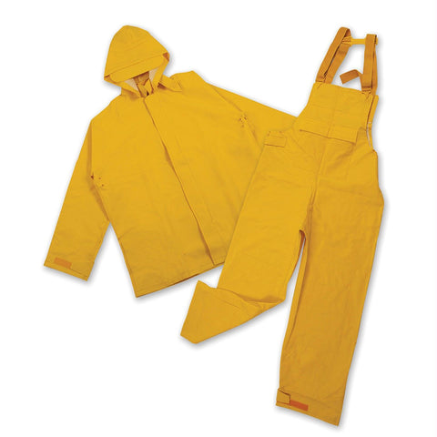 Stansport PVC-Polyester Commercial Rain Suit-Yellow Small