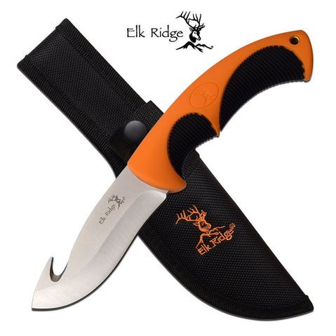 Elk Ridge Fixed 4 in Guthook Blade Orange Rubber Handle