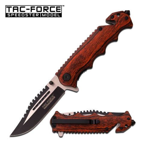 Tac-Force Assisted 3.5 in Blade Brown Pakkawood Handle