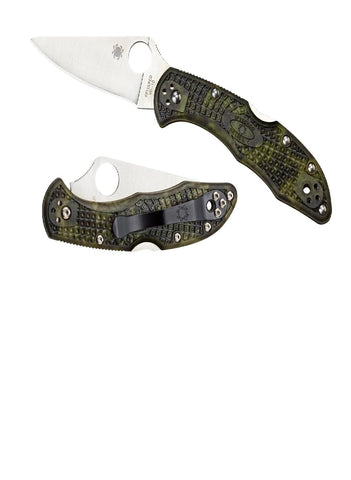 Spyderco Delica 4 Folder 2.88 in Plain Green Zome FRN