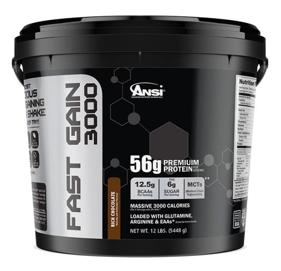 ANSI - Fast Gain 3000 - Massive Calorie Weight Gainer - 12lb (Rich Chocolate)