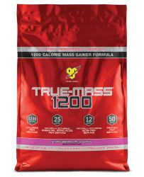 BSN TRUE-MASS 1200 Muscle Mass Gainer Protein Powder, Strawberry, 10 Lbs