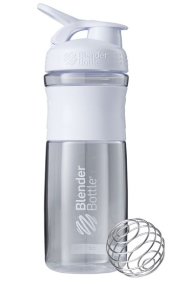 Blender Bottle 28oz SportMixer Tritan Grip Water Bottle Shaker Cup, White