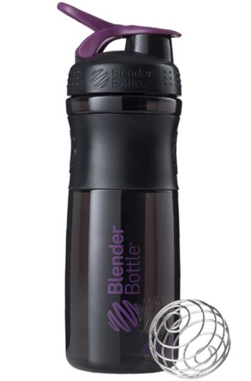 Blender Bottle SportMixer Tritan Grip Shaker Bottle, Black/Plum, 28-Ounce