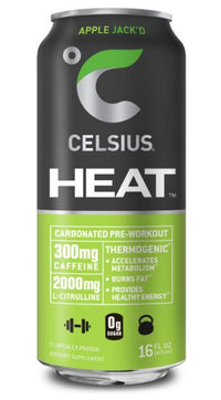 CELSIUS HEAT Apple Jack'd Performance Energy Drink, ZERO Sugar, 16oz. Can, 12 Pack
