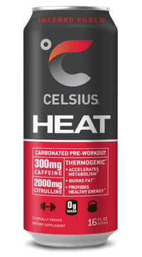 CELSIUS HEAT Inferno Punch Performance Energy Drink, ZERO Sugar, 16oz. Can, 12 Pack