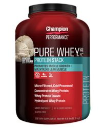 Champion Performance - Pure Whey Plus Protein Stack - Vanilla Ice Cream - Whey Protein Isolate Powder Sports Supplement, Promotes Muscle Growth and Maintains Lean Muscle - 4.8 lbs