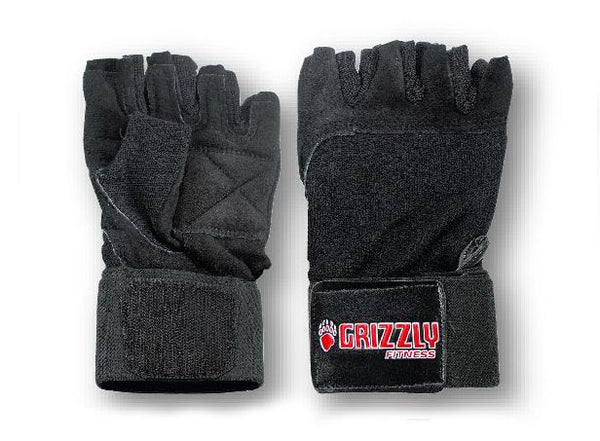 Grizzly Fitness Power Paw Leather Wrist Wrap Training Gloves - Black - Large