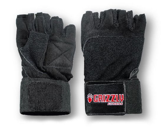 Grizzly Fitness Power Paw Leather Training Gloves - Black - Medium