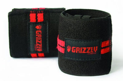 "Grizzly Fitness Red Line Wrist Wraps 11"", Black, One Size"