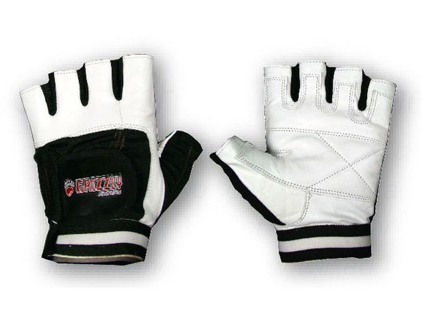 Grizzly Fitness White/Black Grizzly Paw Training Gloves MED