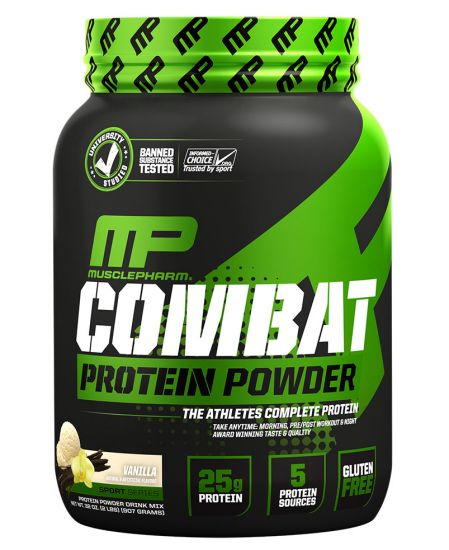 MusclePharm Combat Protein Powder, Vanilla - 2 lb jar