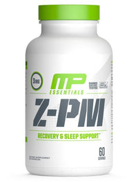 MusclePharm Essentials Z-PM, Nighttime Muscle-Recovery and Sleep Aid, Testosterone Support, Melatonin, Zinc, and Magnesium,  60 Servings
