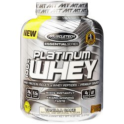 MuscleTech Active Nutrition Essential Series Platinum 100% Whey Protein Isolate & Peptides, Vanilla Cake 5 lbs