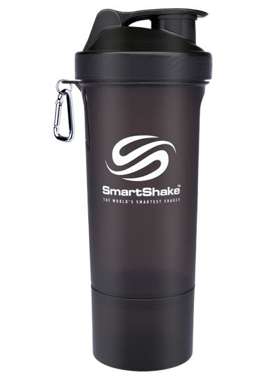 SmartShake SLIM Bottle, 17 oz Shaker Cup, Gunsmoke Black