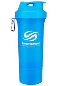 SmartShake SLIM Bottle, 17 oz Shaker Cup, Neon Blue