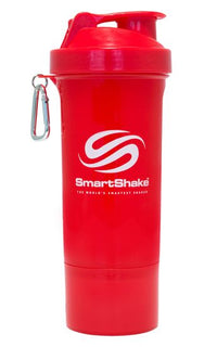 SmartShake SLIM Bottle, 17 oz Shaker Cup, Red