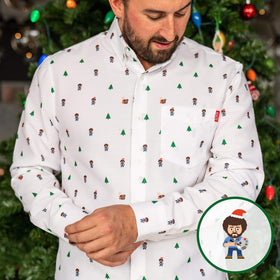 RSVLTS Bob Ross Oxford Long Sleeve Bob Ross Happy Holiday Trees  – Long Sleeve Button Up Oxford Shirt