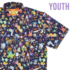 "RSVLTS Nickelodeon Short Sleeve Shirt Nickelodeon ""Spooky Mashup"" Youth – KUNUFLEX Short Sleeve Shirt"