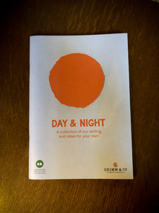 Image of the reversible front cover of Night & Day, a publication written by children and young people from both Grimm & Co and Little Green Pig workshops. This cover showcases Day with a sun.