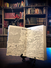 Load image into Gallery viewer, Detail image of the opening map illustration of the paperback book Rumblestar by Abi Elphinstone.