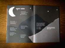 Load image into Gallery viewer, Image of Night & Day, a publication written by children and young people from both Grimm & Co and Little Green Pig workshops. Book is open to show a section on Night with haiku.