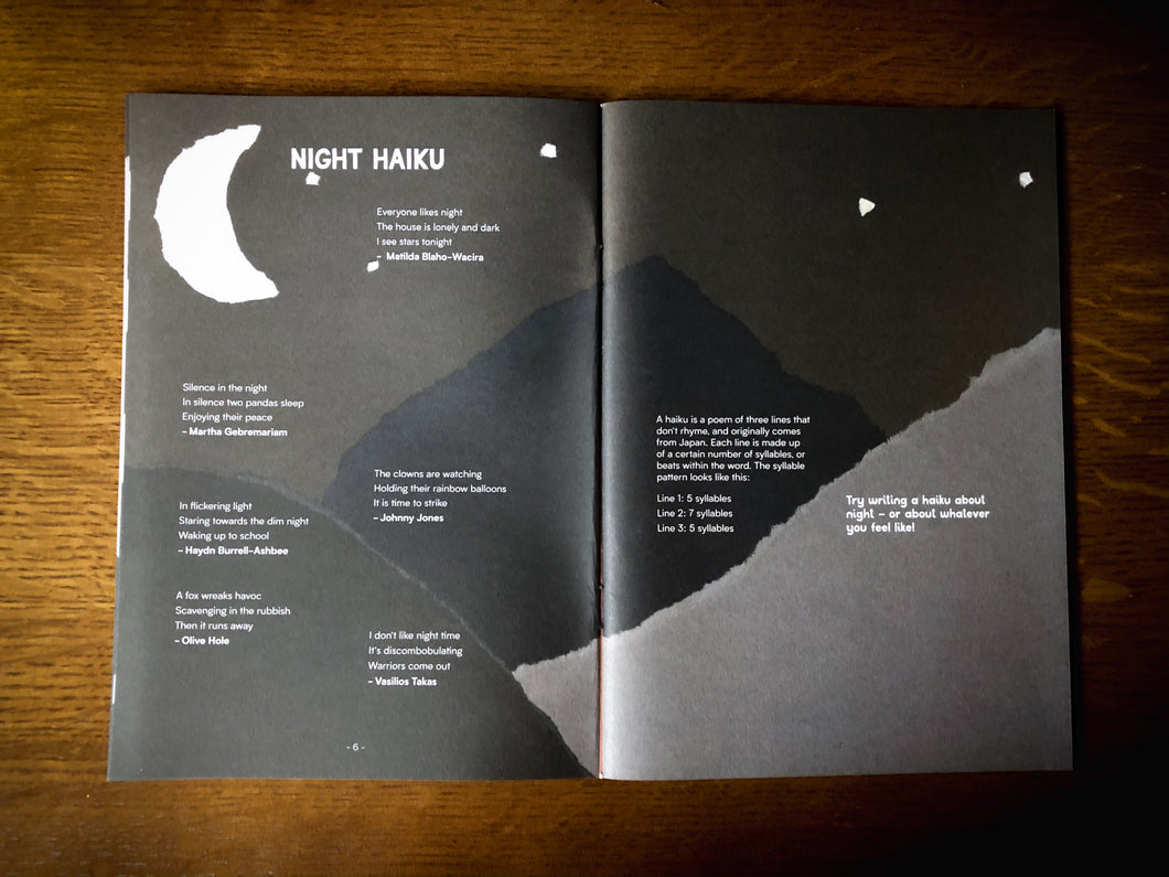 Image of Night & Day, a publication written by children and young people from both Grimm & Co and Little Green Pig workshops. Book is open to show a section on Night with haiku.